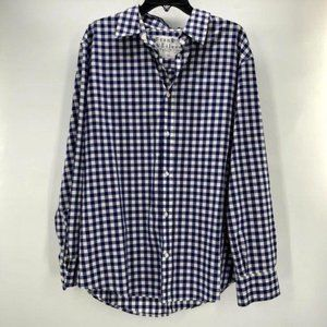 Frank & Eileen Blue White Checkered Plaid Button